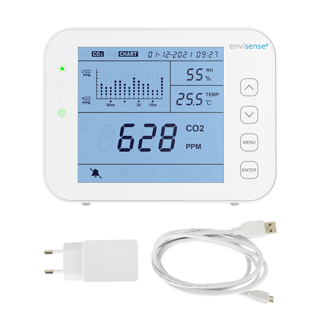 EnviSense CO2 meter with cable and plug